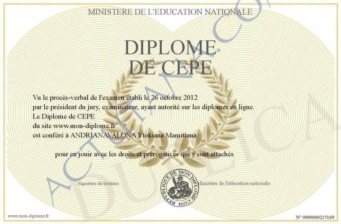 le  u00ab certificat d u2019etudes primaires elementaires  u00bb  u2013 actutana