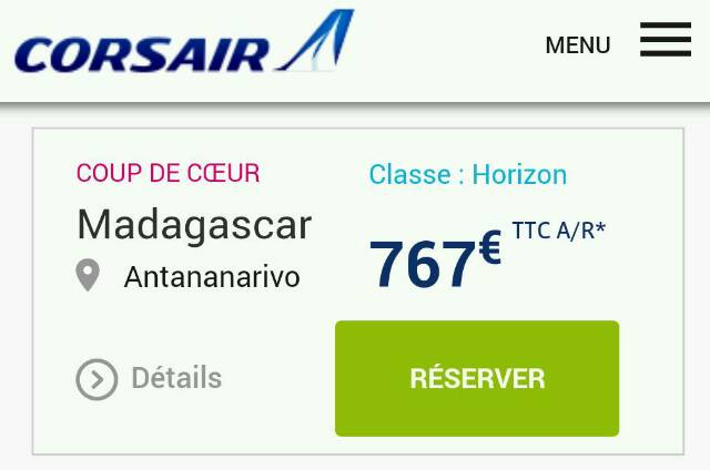 Corsair : 767€ le Paris-Tana-Paris