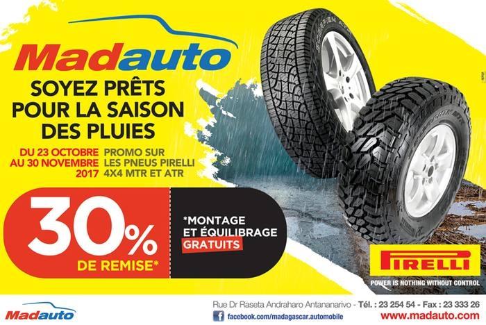 -30% : Promo pneus Pirelli 4X4 chez Madauto
