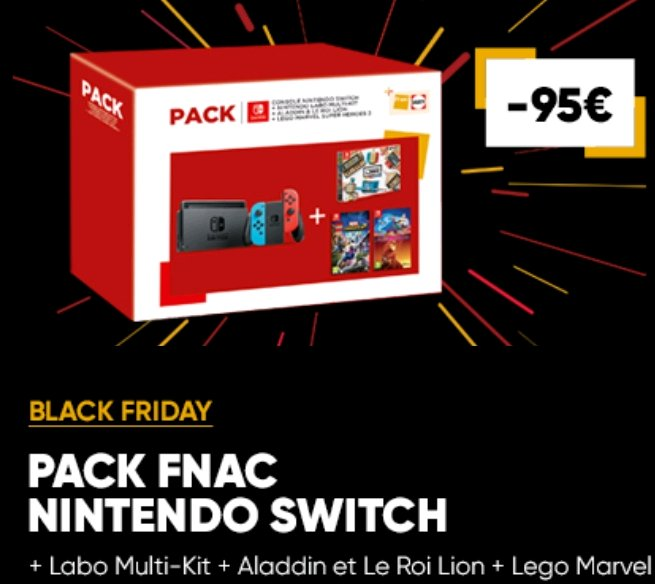 95€ de réduction sur le Pack Fnac Console Nintendo Switch + Nintendo Labo Multi-Kit + Aladdin et le Roi Lion + Lego Marvel Super Heroes