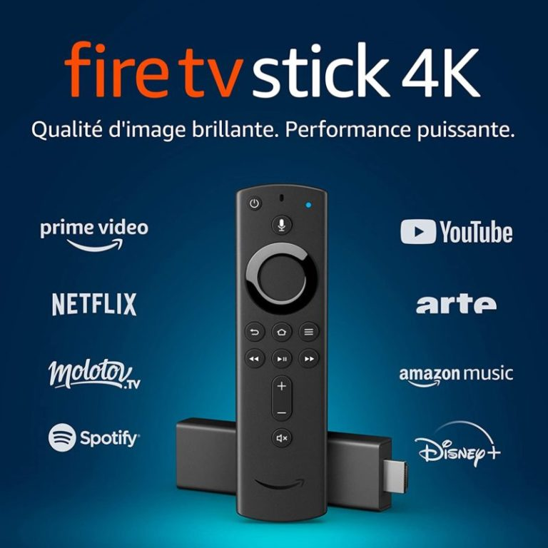Fire TV Stick 4K Ultra HD avec télécommande vocale Alexa